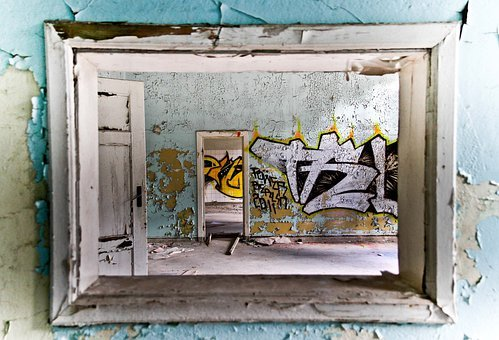 Graffitti, Old House, Old Building, Forget, Frame