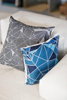 Pillows, Pillow, Geometric, Grey, Blue, Nendo