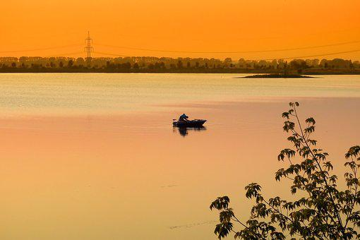 Sunset, Lake, Angler, Abendstimmung, Evening, Landscape