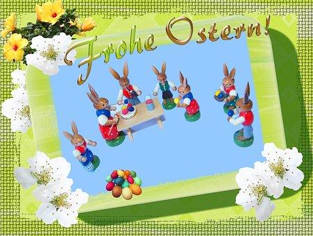 Merry, Easter, Holzfigur, Festival, Paint, Easter Eggs