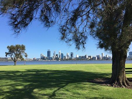 Perth, City, Australia, Western, Skyline, River, Urban