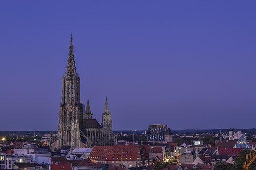 Münster, Ulm, Blue Hour, Tower, Spire, Building, Church