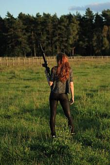 Weapon, Fight, Shoot, Keep, Woman, Girl, Rear, View