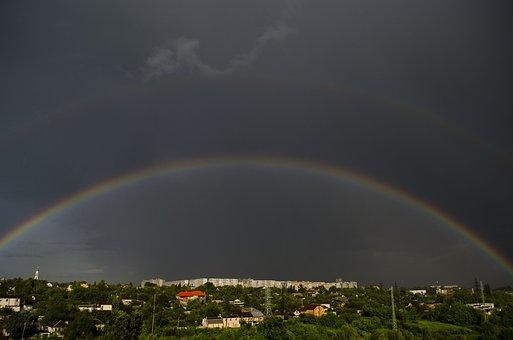 Rainbow, City, Panorama, Double Rainbow