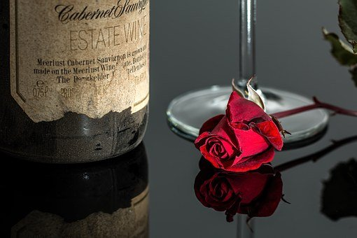 Rose, Wine, Red, Romantic, Bottle, Drink, Glass