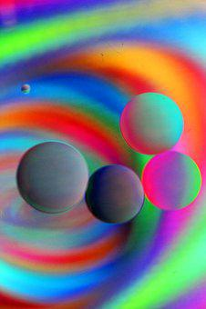 Artistic, Oil And Water, Floating, Colorful, Rainbow