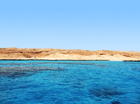 Blue Sea, Island, Ocean, Coast, Arid, Hot, Day, Shore