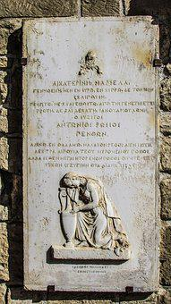 Gravestone, Sculpture, Greek Sign, Headstone, Walled