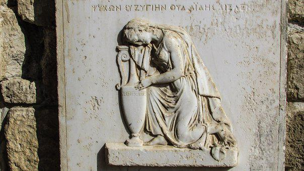 Headstone, Sculpture, Greek Sign, Gravestone, Memorial