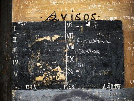 Slate, Notices, Old, Obsolete, Graffitti