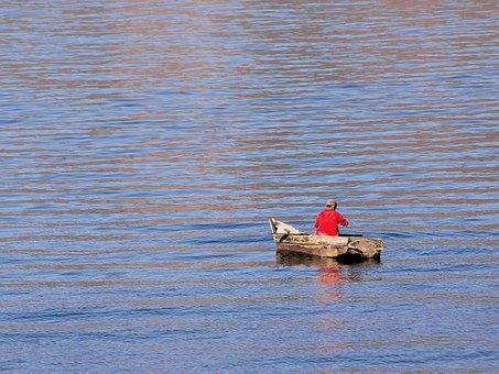 Guatemala, Lake Atitlán, Fisherman, Solitude