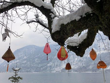 Hallstatt, Lake, Lampion, Lantern, Snow, Winter, Tree