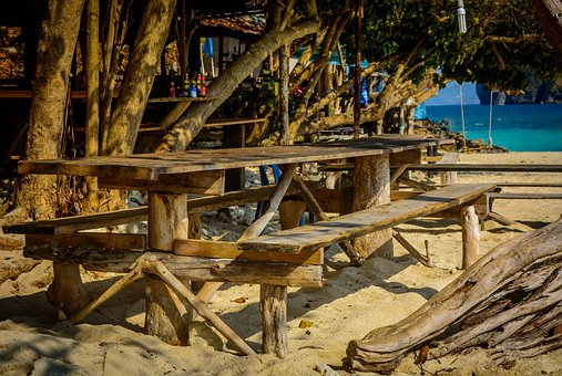 Beach, Restaurant, Woods, Beach Chair, Sea, Wooden