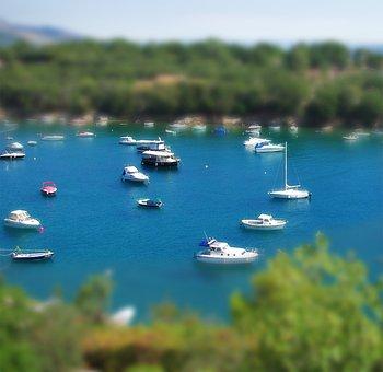 Tilt Shift, Boot, Booked, Croatia, Sea, Water, Holiday