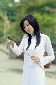 Girl, White Clothing, Pretty, Asian, Bird, In Hand