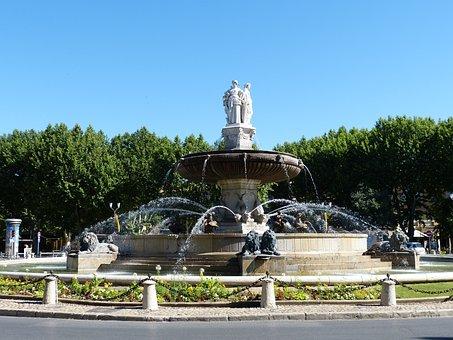 Fountain, Lion, Sculpture, Fig, Women