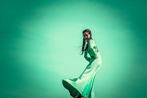 Green, Dress, On The Edge, Light, Freedom, Long, Beauty