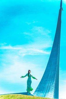 On The Edge, Light, Freedom, Long, Dress, Beauty, Model