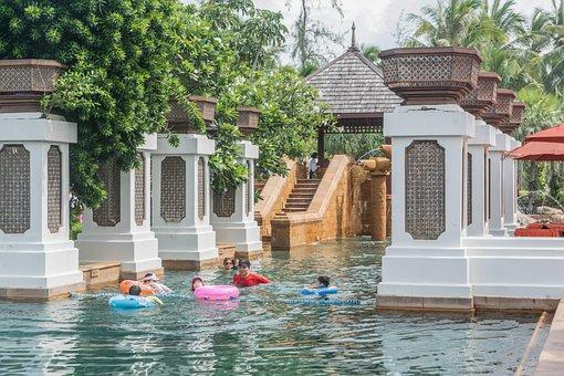 Phuket, Thailand, Pool, Marriott Beach Club, People
