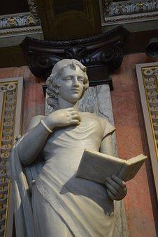 Museum, Statue, Women, Reading, Marble, Sculpture