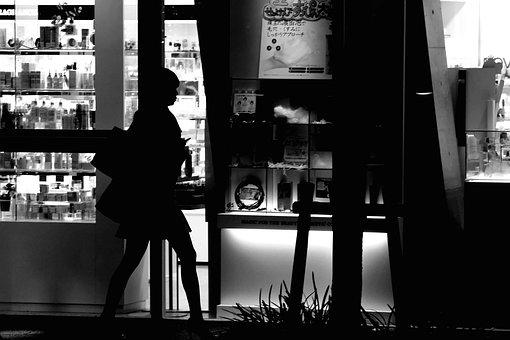 Japan, Osaka, Black And White, Person, Women, Street
