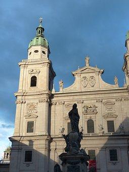 Salzburg Cathedral, Facade, Evening Sun, Illuminated