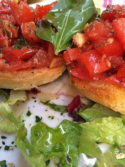 Bruschetta, Food, Italian, Snack, Tomato, Mediterranean