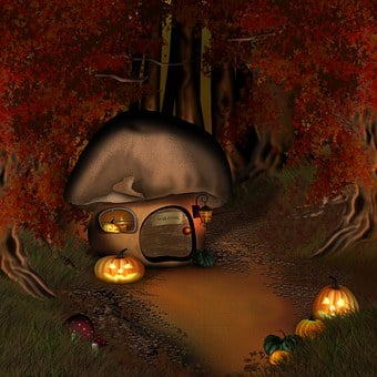 Halloween, Forest, Mushroom House, Forest Lodge