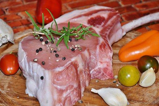 Meat, Pig, Pig Back, Pork, Bone, Grilling, Raw, Tasty