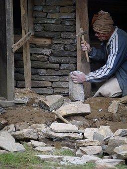 Nepali Man, Old Man, Working Man, Nepalese, Building