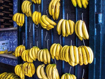Banana, Fruit, Greengrocers, Bananas, Yellow, Blue