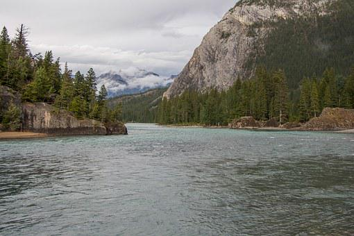 Bow River, Canadian Rockies, Snow Cap, Glacier, River
