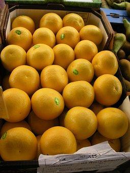 Greengrocer, Fruit Crate, Grapefruit, Fresh, Yellow