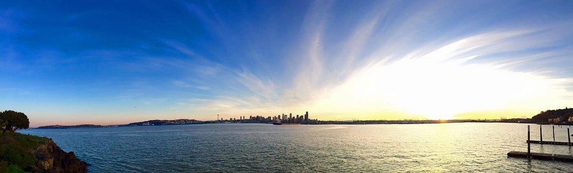Seattle, Skyline, Beach, Panorama, City, Downtown