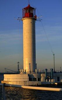 Vorontsov Lighthouse, Lighthouse, Scythe, Sunset