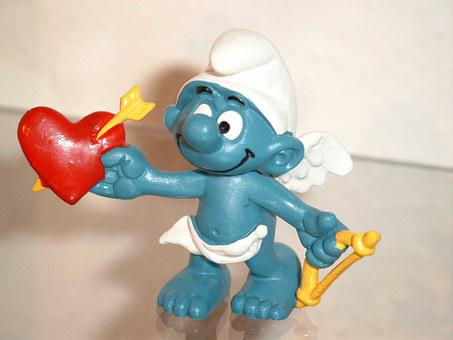 Smurf, Smurfs, Blue, Amor, Heart, Love, Arrow