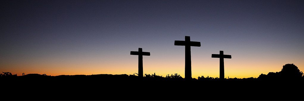 Banner, Header, Easter, Cross, Sunset, Sunrise, Hill