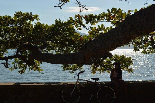 Girl, Bike, Mar, Sol, Summer, Cottage, Beach, Ilhabela