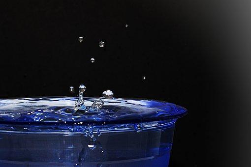 Water, Drip, Blue, Hochspringender High Drop