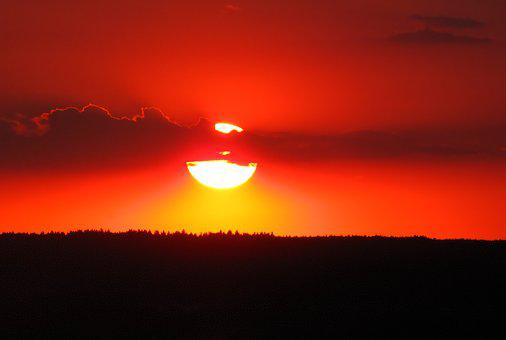 Sunset, Evening Red, Orange Sky, Setting Sun, Horizon