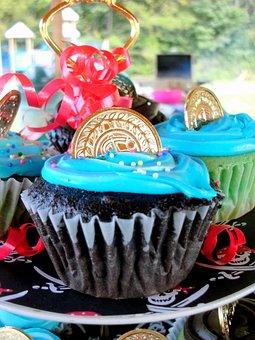 Cupcakes, Blue, Coin, Food, Sweet, Dessert, Chocolate
