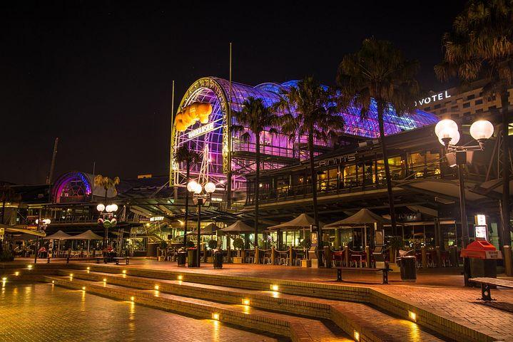 Darling, Harbour, Sydney, Australia, Shops, Lights