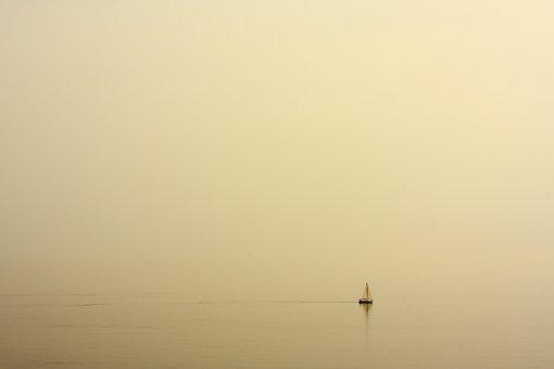 Fog, Ship, Yellow, Powder, Marine, Water, Little