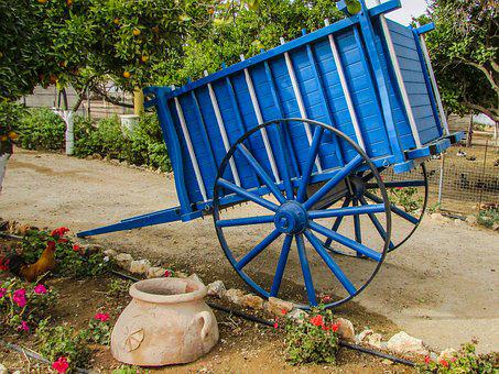 Wagon, Blue, Wheel, Old, Antique, Farm, Rural, Country