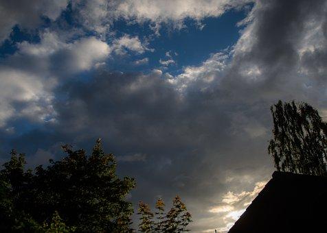 Sky, Clouds, Dark, Black, Highlights, Blue, Bushes