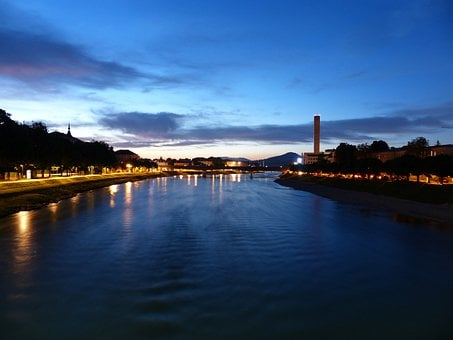 Salzach, River, Night Photograph, Lights, Reflection