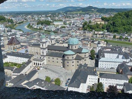 Salzburg, City, City View, Salzach, Salzburg Cathedral