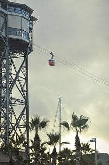 Cable Car, Gondola, Tower, High, Barcelona, Palm Trees