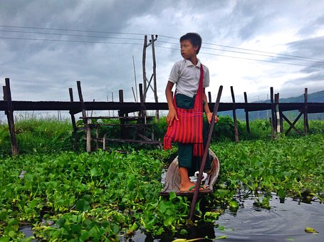 Myanmar, Child, Boot, School, Burma