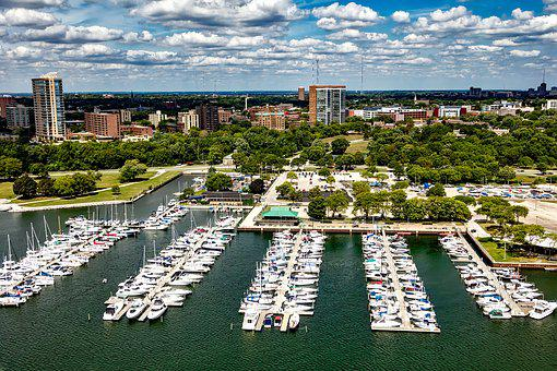 Milwaukee, Wisconsin, City, Urban, Sky, Clouds, Marina